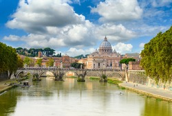 View of Basilica St Peter, bridge Sant Angelo and river Tiber in Rome. Italy. Architecture and landmark of Rome. Postcard of Rome