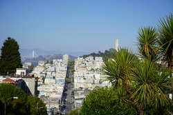 View of Bay Bridge and Coit Tower