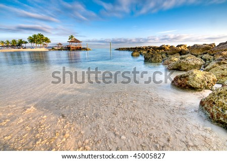 View of beach and ocean in Nassau, Bahamas.