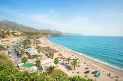 View of beach in Nerja. Malaga province, Costa del Sol, Andalusia, Spain