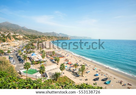 Shutterstock View of beach in Nerja. Malaga province, Costa del Sol, Andalusia, Spain