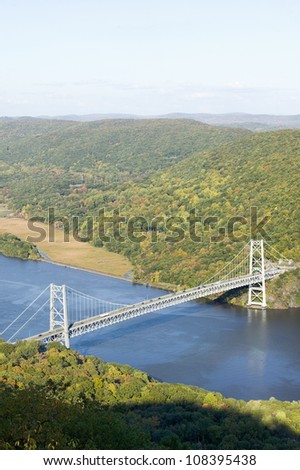 View of Bear Mountain Bridge and Hudson Valley at Bear Mountain State Park, New York