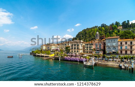 View of beautiful architecture of Bellagio town, lake Como , Italy.