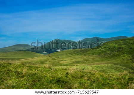 View of beautiful French Alps Mountains. Auvergne-Rhone-Alpes. France. #715629547