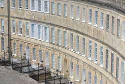 View of  Beautiful Georgian Era Crescent Town Houses in Bath England