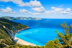 View of beautiful Myrtos bay and beach on Kefalonia island, Greece