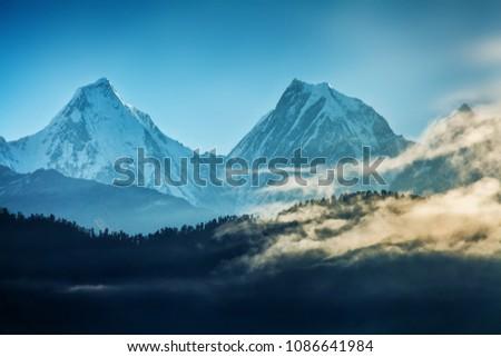 View of beautiful Panchchuli peaks of the Great Himalayas as seen from Munsiyari, Uttarakhand, India. #1086641984