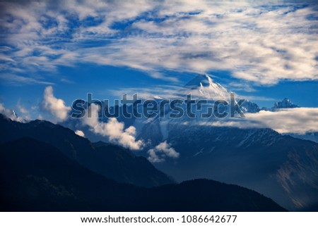 View of beautiful Panchchuli Peaks of the Great Himalayas as seen from Munsiyari, Uttarakhand, India. #1086642677