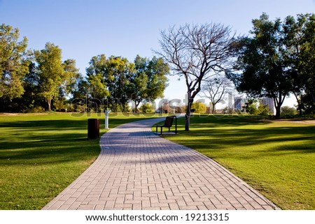 View of beautiful park in Dubai, UAE - stock photo