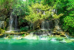 View of beautiful waterfall in garden at Ratchaburi province,Thailand.