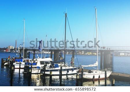 View of Beautiful White Yachts. Daylight. Horizontal. Sea Background.  #655898572