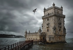 View of Belem Tower, an iconic landmark of Lisbon - Portugal