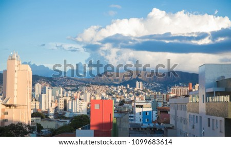 View of Belo Horizonte, Minas Gerais, Brazil and you can see all the Belo Horizonte town and the buildings and a mountain behind #1099683614