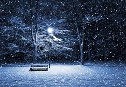 View of bench and shining lantern through snowing. Night shot.