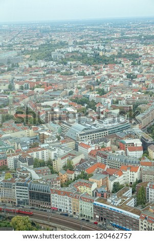 View of Berlin from an observation deck of the Berlin television tower