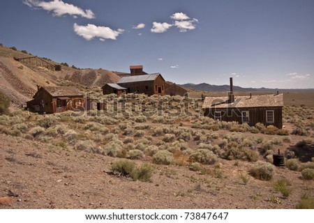 View of Berlin ghost town from Berlin Ichthyosaur State Park in Central Nevada
