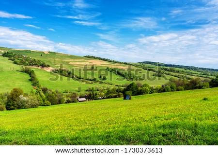 View of Beskid Niski mountain range from the nearby slopes. Beskid Niski is part of Carpathian mountains in Poland Zdjęcia stock ©