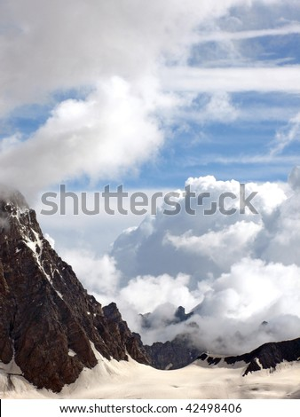 view of Bezenghi mountains at Caucasus