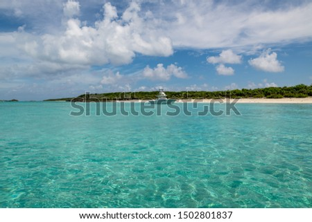 View of Big Major Cay (better known as Pig island or Pig  beach) where lives  a colony of feral pigs (Exuma, Bahamas). #1502801837