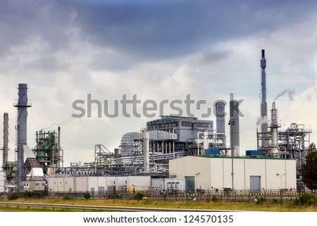 View of big oil refinery of a sky background