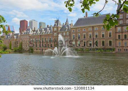 view of Binnenhof (Dutch Parliament) with flags, The Hague, Holland