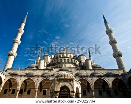 View of Blue Mosque (Sultan Ahmet) in Istanbul, Turkey