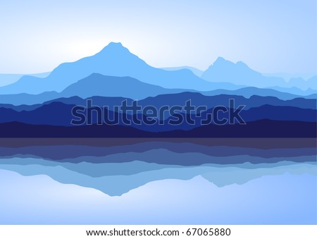 View of blue mountains with reflection in lake. Raster version of the image.