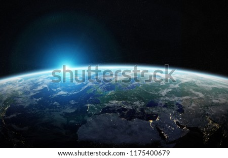 View of blue planet Earth in space with her atmosphere Europe continent 3D rendering elements of this image furnished by NASA