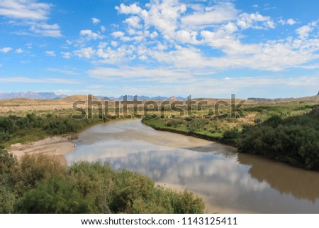 View of blue sky above the Rio Grande in Texas near the border with Mexico