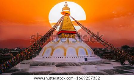View of Bodhnath stupa, one from the best buddhist stupas on the world, the biggest stupa in Kathmandu city, evening sunset view, Nepal buddhism Foto stock ©