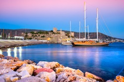 View of Bodrum Castle and Marina at Sunset, Turkey