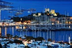 View of Bodrum marina by night. Turkish Riviera.