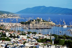 View of Bodrum marina on Turkish Riviera.