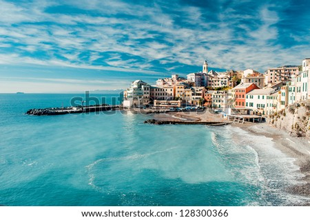 View of Bogliasco. Bogliasco is a ancient fishing village in Italy #128300366