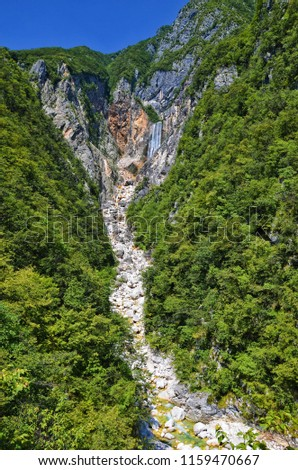View of Boka waterfalls, Slovenia. The waterfall is located on the right bank of the Soca River and is supplied by a karst spring under an almost vertical limestone wall. Photo: July 26th 2013