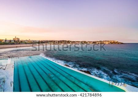 View of Bondi Beach in Sydney from Bondi Icebergs Pool.