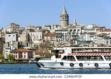 View of Bosphorus and Galata Tower in Istanbul city, Turkey