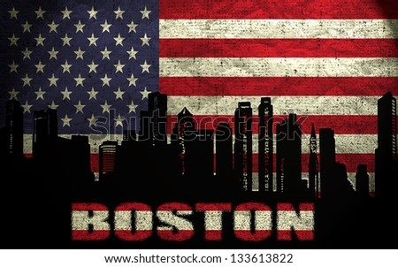 View of Boston City on the Grunge American Flag