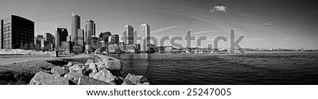 view of boston harbor and rowes wharf and skyscraper buildings in boston massachusetts