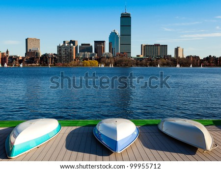 View of Boston in Massachusetts, USA by the Charles River bed on a sunny and warm spring day.