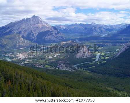 View of bow valley, tunnel mountain and banff town from sulphur mountain, banff, alberta