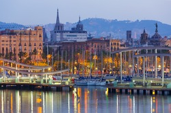 view of bridge at Port Vell during dawn. Barcelona, Spain