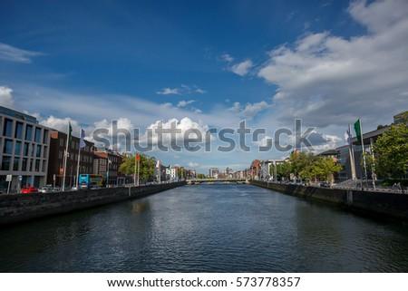 view of bridge side , town , Ireland  #573778357