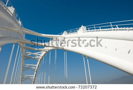 View of bridge support against a blue sky.