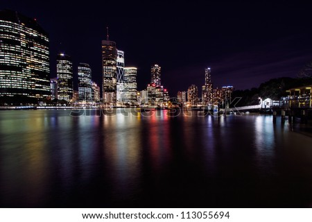 View of Brisbane City and ferry terminal from Kangaroo Point