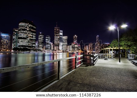 View of Brisbane City from jetty at Kangaroo Point, Brisbane Australia
