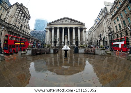 View of British financial heart, Bank of England and Royal Exchange. Shot made fisheye lens