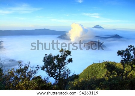 View of Bromo mountain in Java Indonesia