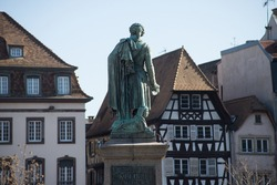 View of bronze statue of the general Kleber on the main place in Strasbourg - France