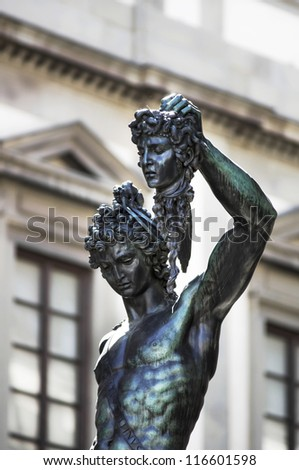 View of bronze statue Perseus with the head of Medusa in Florence, Italy